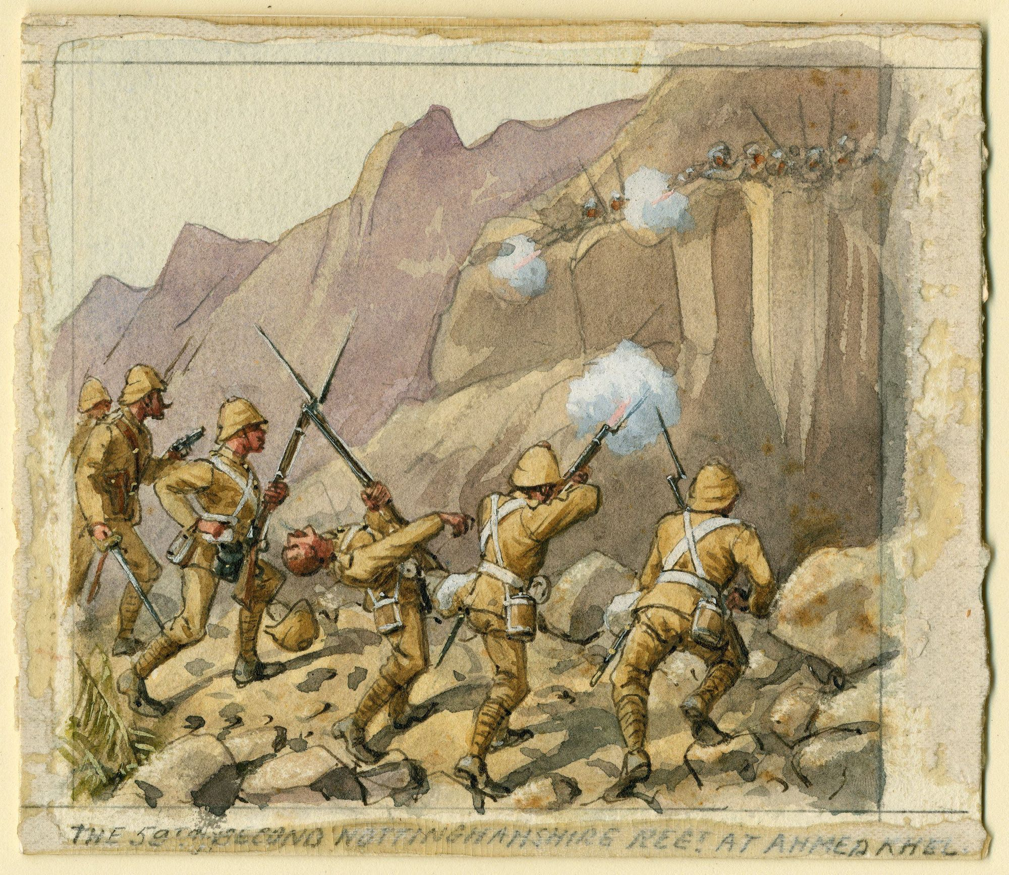 59th (2nd Nottinghamshire) Regiment of Foot at Ahmed Khel, 2nd Afghan War 1880 by Richard Simkin.